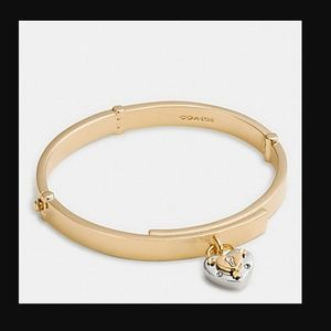 Coach Padlock Heart Hinged Bangle Bracelet NWT